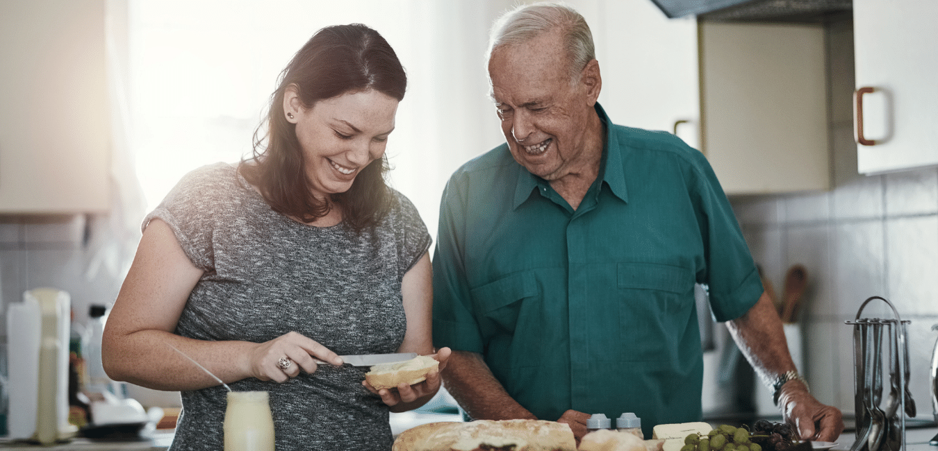An image of a woman helping her aging father. At LIFEID, we want to help you keep your aging parents safe. That's why we recommend you help them get a medical ID that can speak for them when they cannot.